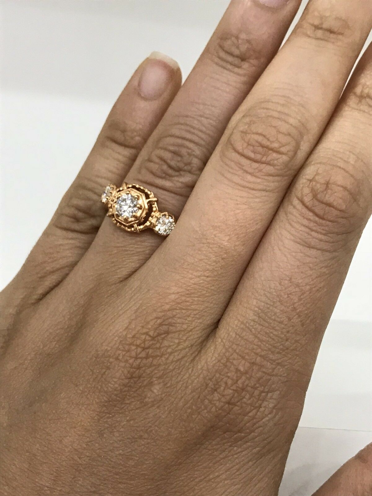 18KT pink gold ART-DECO DIAMOND RING SIZE 7 1.01 CTTW