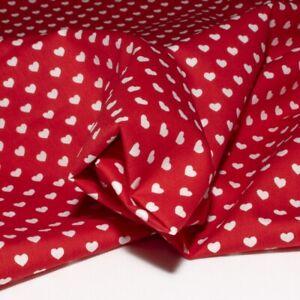 Tessuto cotone 100% fantasia cuori rosso cm. 50x150