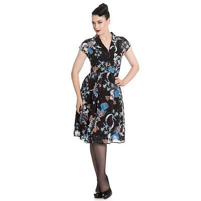 Analytisch Hell Bunny Starry Night Floral Bird 1940s Retro Rockabilly Vintage Tea Dress Chinesische Aromen Besitzen