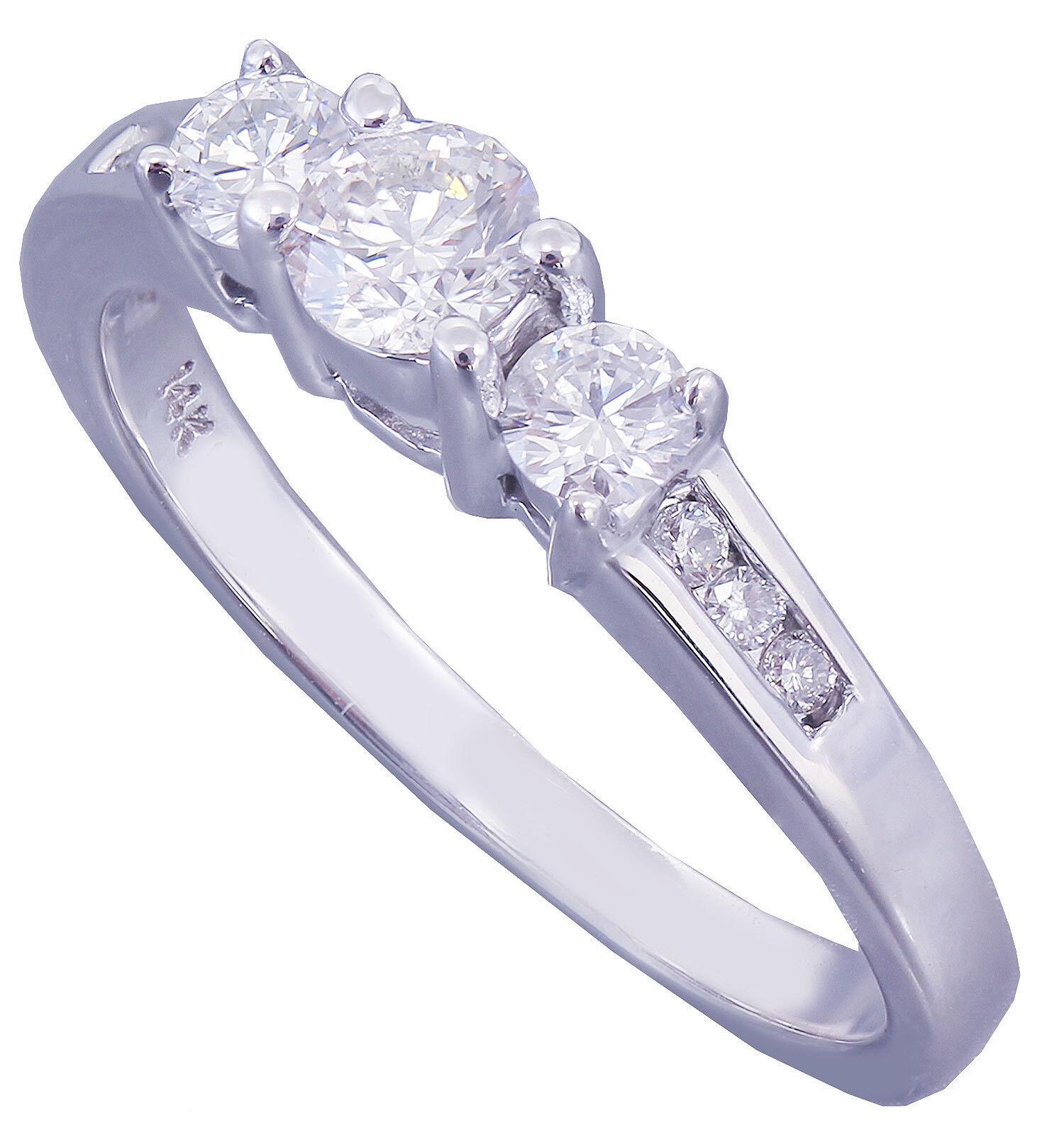 Eelegant 14k White gold Round Cut Diamond Engagement Ring Prong Bridal 0.42ct