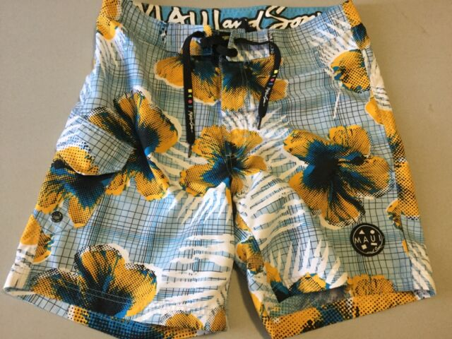 Men's Board Shorts Maui & Sons Sz 32 New Without Tags Blue Floral Unlined