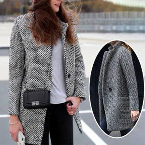 Light Gray Wool Coat Women X Long Turn down Collar Slim