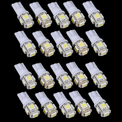 20Stk. Weiß Autolampe T10 5050 5 LED SMD W5W 194 168 Standlicht Birne Lampen