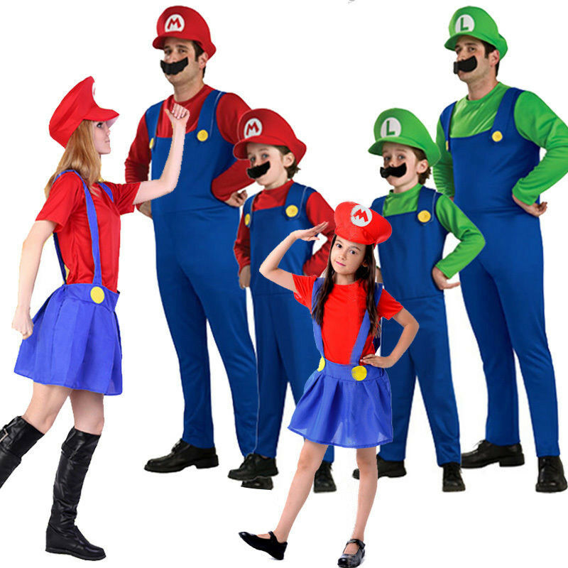 Men Adult Kids Women's Super Mario and Luigi Fancy Dress Cosplay Costume Outfit. 4