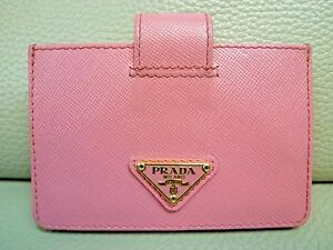 b1a894449762 Image is loading PRADA-Saffiano-Leather-Credit-Card-Holder-Geranio-Pink-