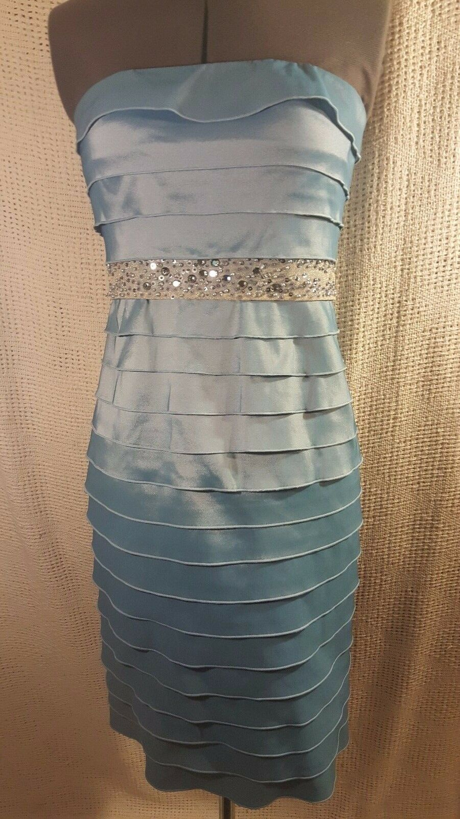 Adrianna Papell Sexy Strapless Light bluee Tiered Party Dress Jewels Bead Waist 4