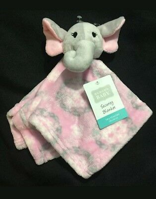 "SO CUTE HUDSON BABY GIRL PINK ELEPHANT SUPER SOFT SECURITY BLANKET 14/"" x 14/"""