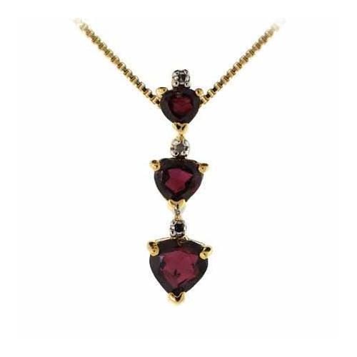 18k gold over 925 silver three stone garnet diamond accent heart 18k gold over 925 silver three stone garnet diamond accent heart pendant 18 ebay aloadofball Image collections