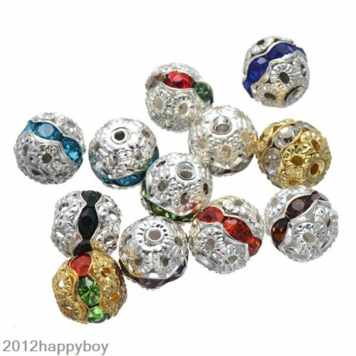 20//50Pcs Mixed Crystal Silver Plated Hollow Ball Shape Beads Jewellery Making