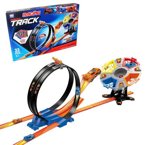 Hot Racing Car 360 Degrees Shooter Flying Wheels Loop Race Track Play Pull Back