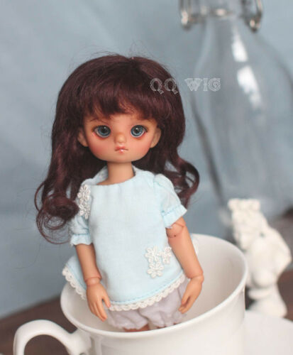 QQ-21D dark brown  Mohair Wig BJD Doll hair 1/12;1/6; 1/4;1/3