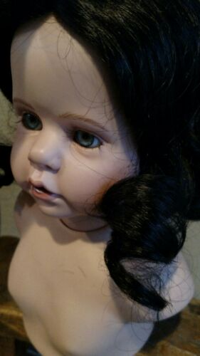"Long fine ELISE 13-14/""  Black GLOBAL clearance priced! Human Hair Doll Wig"