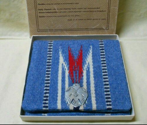 Vintage Chimayo Ganscraft Hammered Clasp Blue Wool