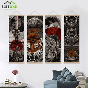 Details About Hd Japanese Samurai Wall Pictures Art Hanging Scroll Painting With Wooden Hanger
