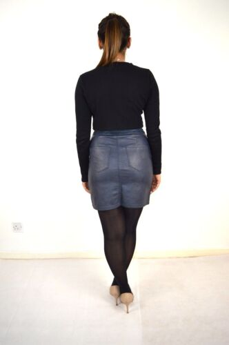 Womens Soft PVC Fabric// Faux  Suede Trim Mini Skirt In Navy 8,10,12,14