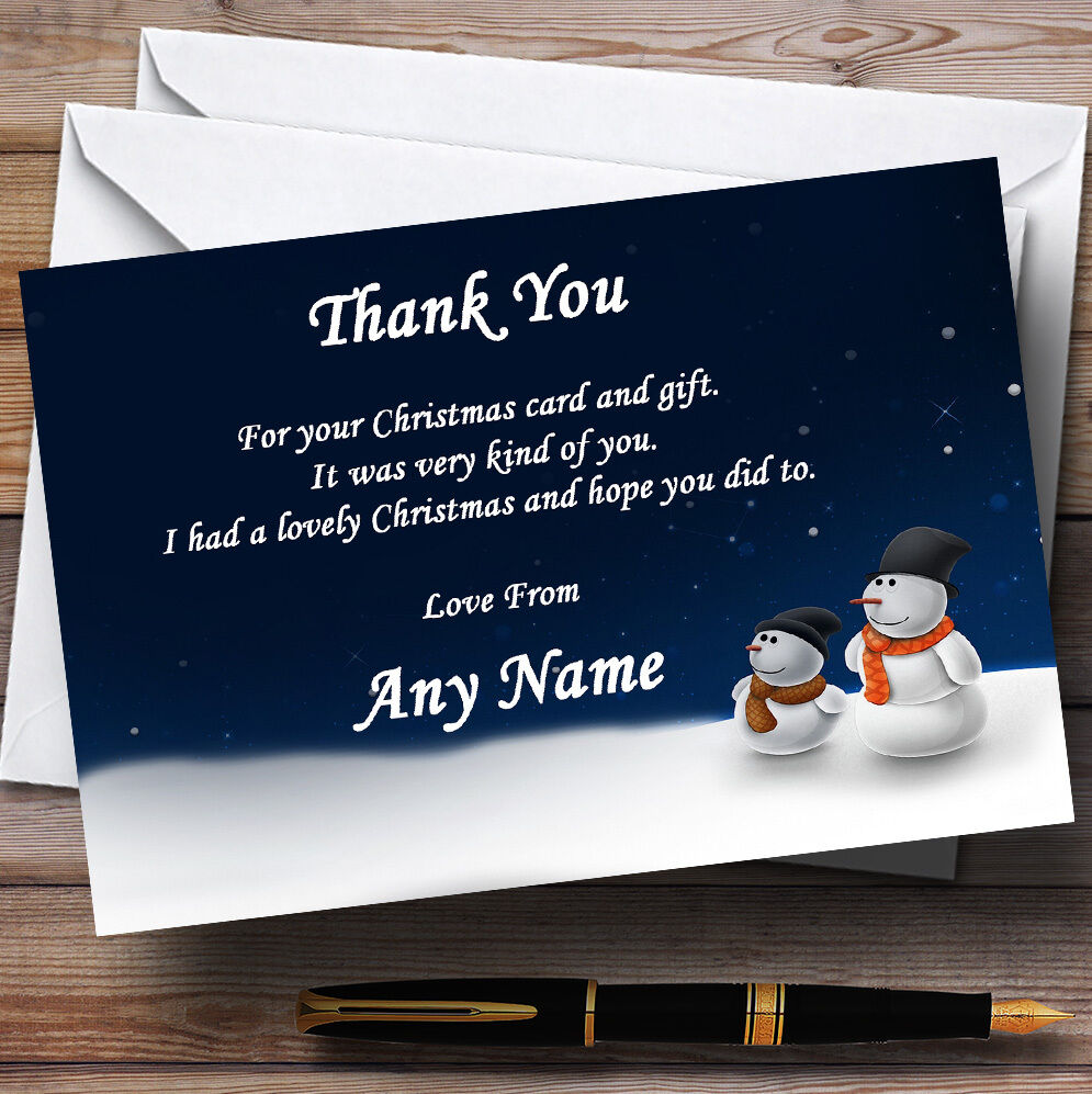Snowmen Personalised Christmas Party Thank You Cards 398433