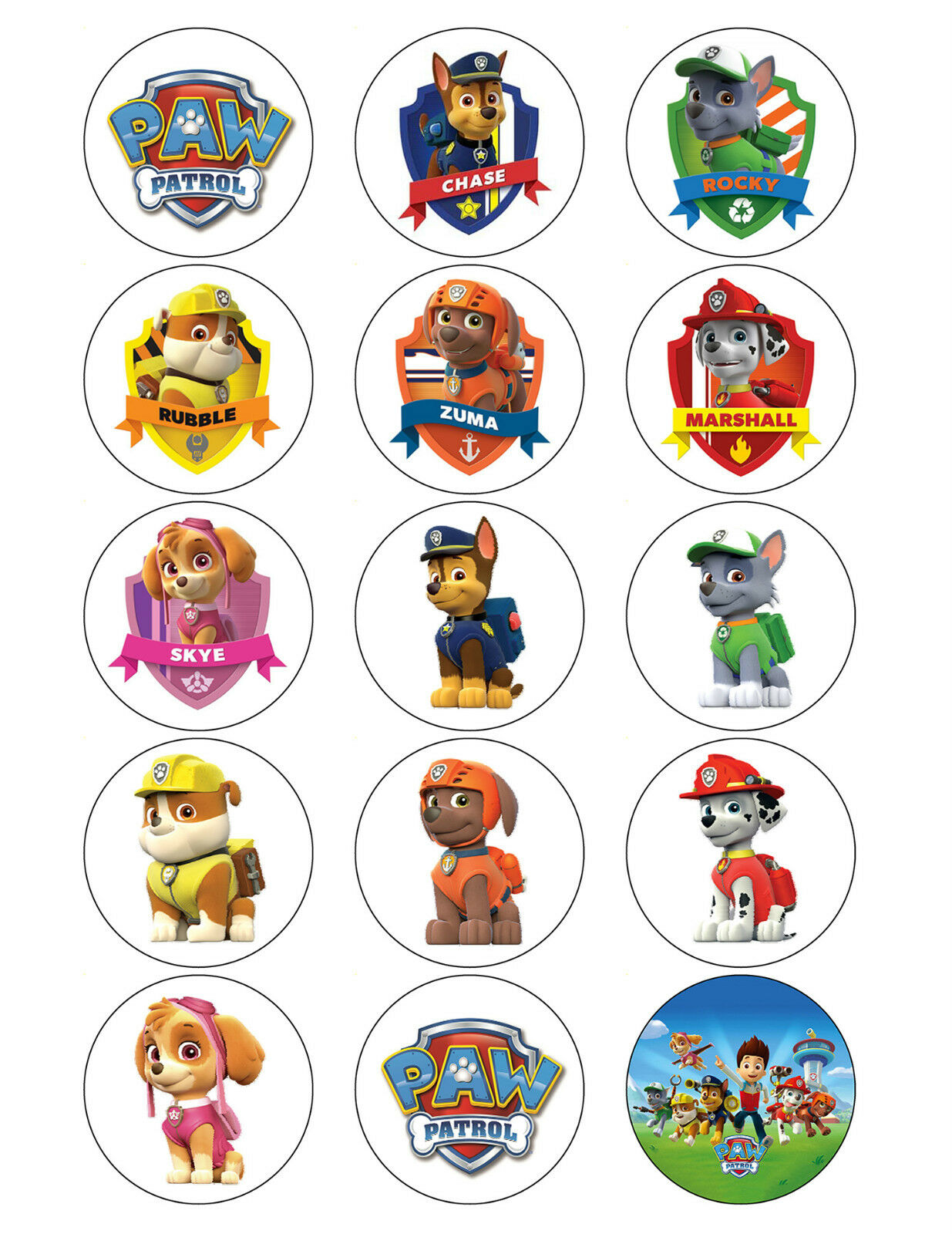 PAW PATROL CUPCAKE TOPPERS EDIBLE BIRTHDAY PARTY CUPCAKE ...