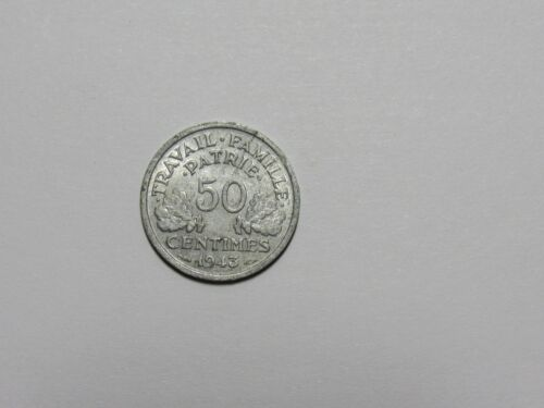 1943 Vichy State 50 Centimes Circulated Old France Coin