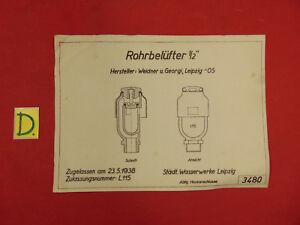 Schema Rohrbelüfter 1/2 Zugellasen Am 23.5.1938 Sonstige Sonstige
