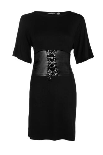 NEW LADIES Ex BOOHOO BLACK CORSET BELTED WAIST DRESS LITTLE BLACK DRESS SZ 6-12