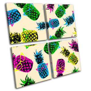 Pineapple-Cool-Funky-Fruit-Food-Kitchen-MULTI-CANVAS-WALL-ART-Picture-Print