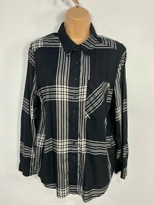 WOMENS-MARKS-amp-SPENCER-BLACK-MIX-CHECKED-LONG-SLEEVE-SHIRT-BLOUSE-CASUAL-TOP-UK8