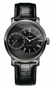 Rado-Diamaster-Cadran-Noir-Ceramique-Cuir-Automatique-Montre-Hommes-R14129176
