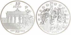 Frankreich-10-Euro-2009-20-Jahre-Fall-der-Berliner-Mauer-PP-in-Kapsel