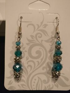 Intricate-dangle-blue-glass-bead-earrings-with-dainty-silver-accents-Handmade