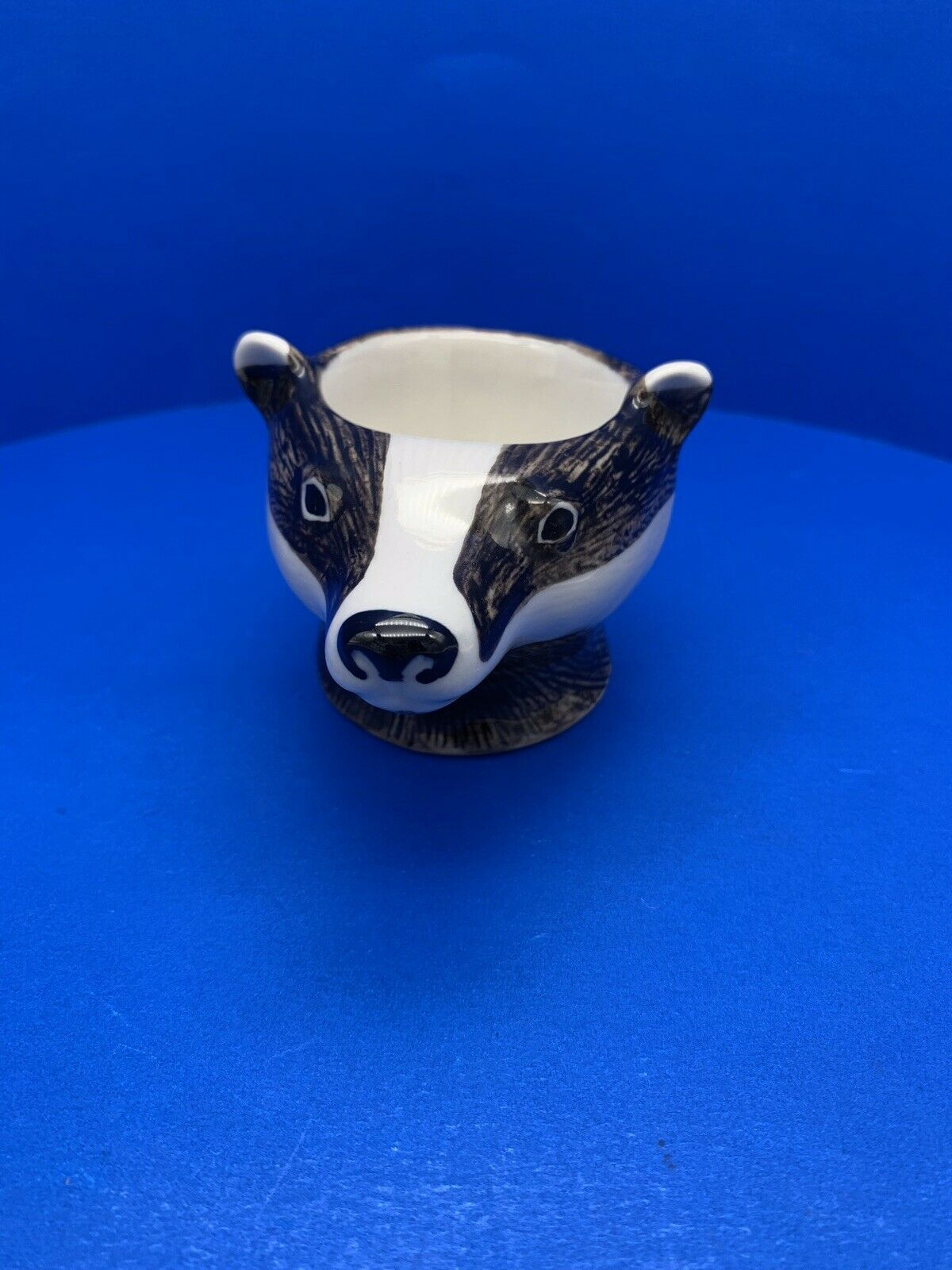 """Wild Life Collection """"Badger Face """" Egg Cup Holder Porcelain By Quail"""