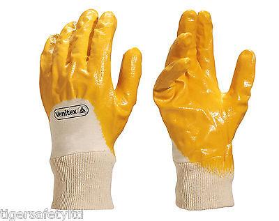 Sizes 7-11 12 Pairs Delta Plus Venitex NI015 Knitwrist Yellow Nitrile Gloves