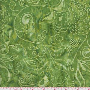 ... Fabrics Bali Batik 574 Green on Green Leaf Vines By the Yard | eBay