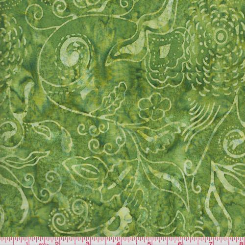 Anthology Fabrics Bali Batik 574 Green on Green Leaf Vines By the Yard