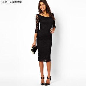 bde82f0b43ab Elegante raffinato abito vestito donna tubino corto nero pizzo ...