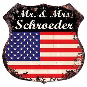 BPLU0450-America-Flag-MR-amp-MRS-SCHROEDER-Family-Name-Sign-Decor-Wedding-Gift