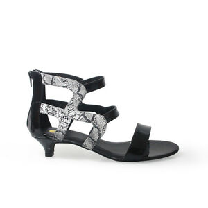 Size-12-Black-Patent-amp-Snake-Leather-Large-size-shoes-Women-Low-kitten-heel-4cm