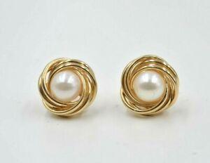 23b207bb7 14 kt Yellow Gold Pearl Earring Studs push backs Great Gift Sale | eBay