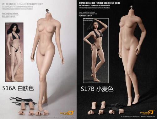 """TBLeague 1:6 12/"""" S16A Pale Seamless Mid Bust Female Action Body Narrow Shoulder"""
