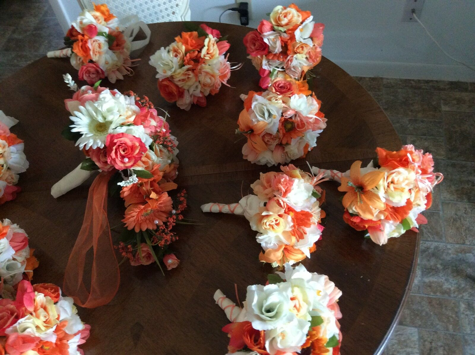 Wedding Flowers Bridal Bouquet Decorations Coral 5 Bouquet Add Couleurs