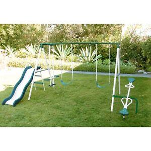 Metal Swing Set Play Slide Outdoor Kids Backyard Playset Sportspower