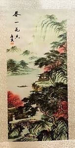 Details About 1 Pc Printed Chinese Drawing Silk Scroll Wall Decoration In Four Season Design
