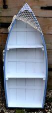 62cm WOODEN PALE BLUE & WHITE ROWING BOAT SHELVES Net Anchor Seaside Shelf Unit