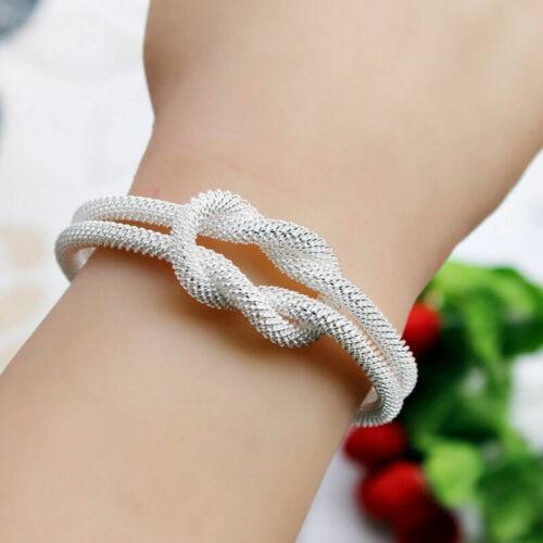 Women Mens Silver Plated Solid Twist Cuff Bangle Bracelets Valentine/'s Day M8J7