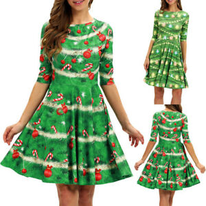 Women-O-Neck-Print-Dress-Ladies-Christmas-Half-Sleeve-Party-Mini-Dresses-AU