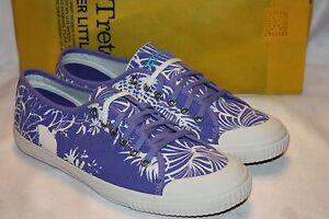NEW-NIB-TRETORN-Seksti-Spring-Floral-Blue-Iris-Classic-Sneakers-Tennis-Shoes