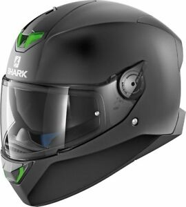 SHARK-Helm-Skwal-2-Blank-schwarz-matt-Gr-S-55-56-Sonnenblende-NEU-LED-green