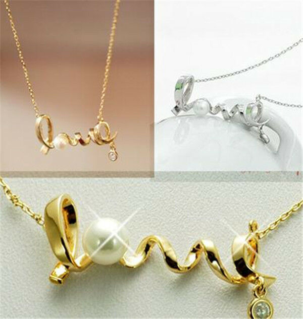 New Fashion Girls Beautiful Gold /Silver LOVE Letter Pendant Chain Necklace
