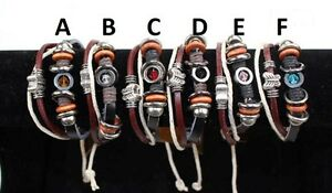 MULTI-STRAND-LEATHER-CORD-BUTTERFLY-BRACELET-BEADED-ASSORTED-STYLES