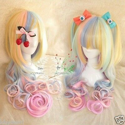 Lolita Harajuku Style Mixed Multi-Color Curly Long Hair Anime Cosplay Wig