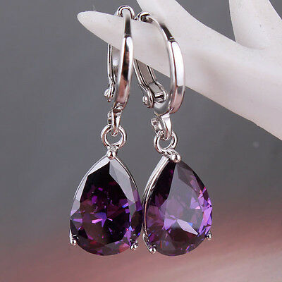 Irresistible 18k white GF purple sapphire crystal Twinkling dangle earring